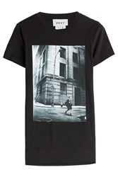Dkny Printed Cotton T Shirt Black