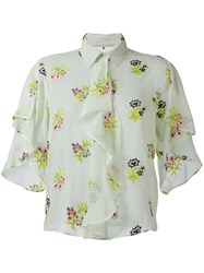 Marco De Vincenzo Floral Embroidery Shirt Green