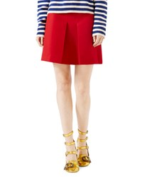 Gucci Wool Silk Skirt Hibiscus Red