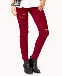 Forever 21 Stretchy Destroyed Denim Skinnies Red