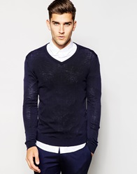 United Colors Of Benetton Knitted V Neck Jumper Navy06u