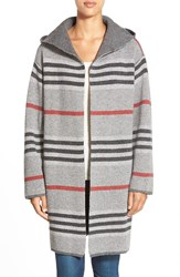Rd Style Stripe Hooded Sweater Coat Ash Grey