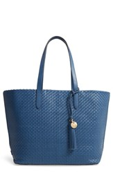Cole Haan Payson Rfid Woven Leather Tote Blue Navy Peony