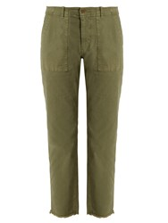 Nili Lotan Jenna Mid Rise Cropped Cotton Blend Trousers Khaki
