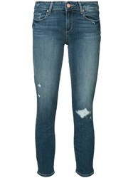 Paige Distressed Ankle Jeans Women Cotton Polyester Spandex Elastane 25 Blue