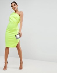 Asos One Shoulder Scuba Deep Fold Midi Dress With Exposed Zip Neon Yellow