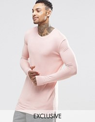 Underated Super Longline Long Sleeve T Shirt Pink