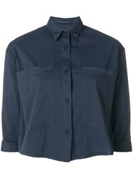 Transit Cropped Button Shirt Blue