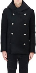 Balmain Hooded Double Breasted Peacoat Black