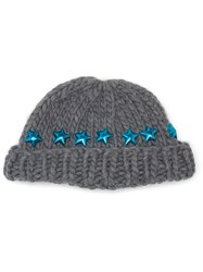 Wool And The Gang Knitted Star Beanie Hat Grey