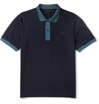 Prada Slim Fit Cotton Pique Polo Shirt Navy