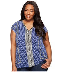 Lucky Brand Plus Size Printed Button Front Top Blue Multi Women's Short Sleeve Button Up