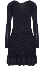 Diane Von Furstenberg Perlita Metallic Stretch Knit Dress Midnight Blue