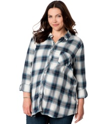 Wendy Bellissimo Maternity Plus Size Lace Inset Plaid Shirt