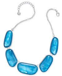 Charter Club Large Shell Finish Stone Statement Necklace Only At Macy's Silver