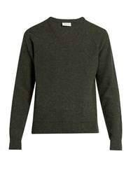 Christophe Lemaire V Neck Wool Sweater Green