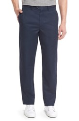 Nordstrom Big And Tall Men's Shop Smartcare Tm Classic Supima Cotton Flat Front Trousers Navy Eclipse
