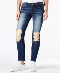 Dollhouse Juniors' Sequin Patch Skinny Jeans Blue Suede