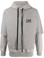 Unravel Project Logo Layered Hoodie Grey
