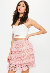 Missguided Premium Pink Lace Ruffle Mini Skirt