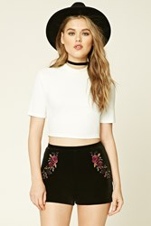 Forever 21 Embroidered Velvet Shorts Purple Black