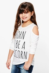 Boohoo Cold Shoulder Unicorn Tee Cream