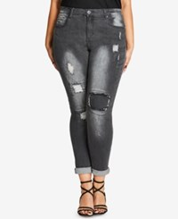 City Chic Trendy Plus Size Gray Wash Patched Jeans Charcoal