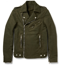 Balmain Washed Cotton Twill Biker Jacket Green