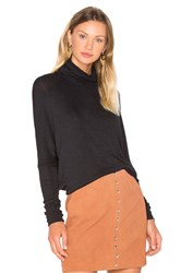 Bobi Draped Rib Long Sleeve Turtleneck Top Black