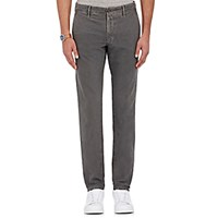 Incotex Men's Slacks Slim Fit Stretch Cotton Trousers Light Grey