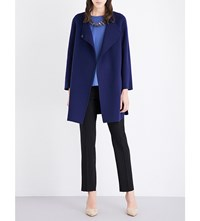 Armani Collezioni V Neck Wool And Cashmere Blend Coat Navy