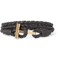 Tom Ford Woven Leather And Gold Plated Wrap Bracelet Brown