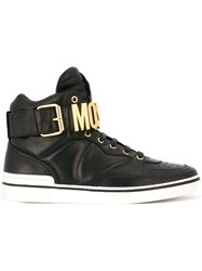 Moschino Logo Plaque Hi Top Sneakers Black