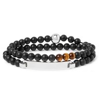 Montblanc James Dean Sterling Silver Onyx And Tiger's Eye Beaded Bracelet Black