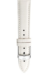 Michele 20Mm Leather Watch Strap White Lizard