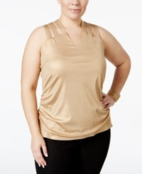 Inc International Concepts Plus Size Metallic Lattice Back Tank Top Only At Macy's Gold