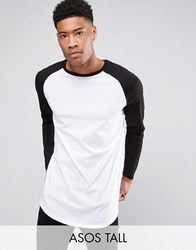 Asos Tall Super Longline Long Sleeve T Shirt With Contrast Raglan And Curve Hem White Black