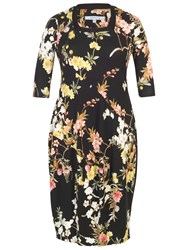 Chesca Oriental Floral Dress Black