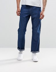 Asos Straight Jeans With Pockets In Mid Blue Mid Blue