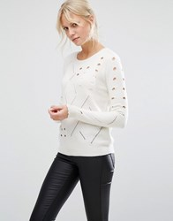 Shae Sophie Perforated Jumper Off White