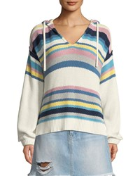 Frame Striped Dropped Shoulder Hooded Sweater White Pattern