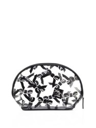 Saks Fifth Avenue Large Tossed Bow Cosmetic Case White Black