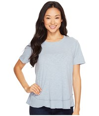 Dylan By True Grit Crew Neck Short Sleeve Tee Denim Blue Women's Short Sleeve Pullover