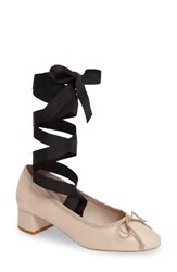 Topshop Women's Kan Kan Ankle Tie Pump Nude Leather