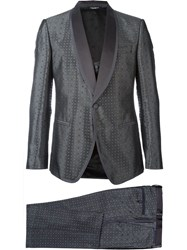 Dolce And Gabbana Patterned Three Piece Suit Grey