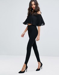 Miss Selfridge Black Ribbed Stirrup Legging Black