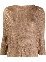 Snobby Sheep Knitted Embellished Jumper Brown