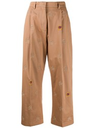 Tommy Hilfiger Cropped Embroidered Crest Trousers Brown