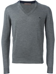 Etro V Neck Sweater Grey