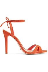 Schutz Lucie Suede Sandals Orange